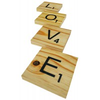 "SCRABBLE COASTERS - ""LOVE"""