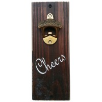 "BOTTLE OPENER - ""Cheers"" - Dark Stain"