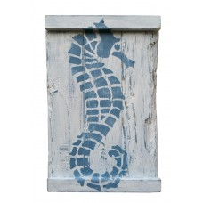 SEA HORSE - Blue on White