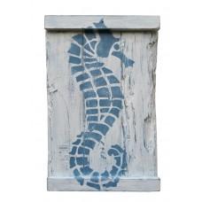 SEA HORSE - Blue on White